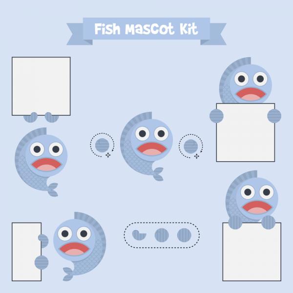 Fish mascot vector
