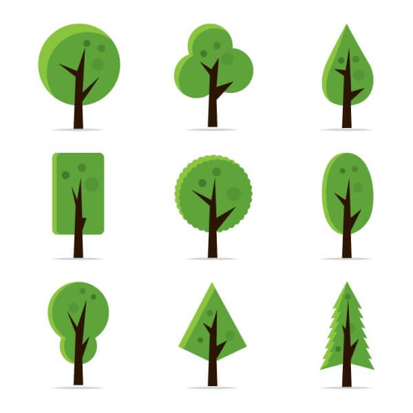Abstract Tree Icons vector