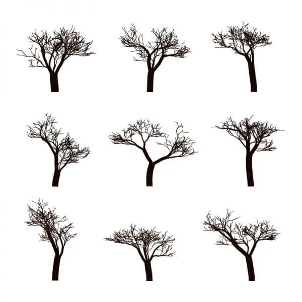 Dead trees Silhouettes vector