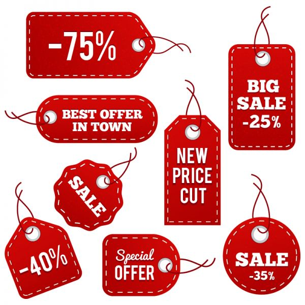 Red Leather Price Tags vector