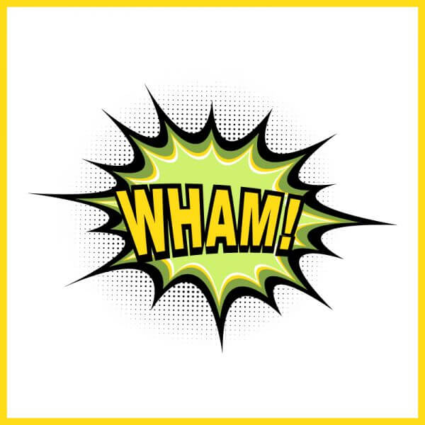 Comic book explosion, wham vector