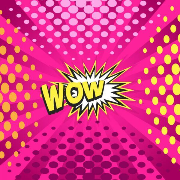 Comic book explosion illustration, wow word vector