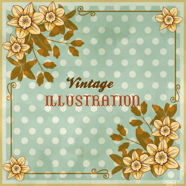 Vintage floral illustration with flowers, frame and typography vector