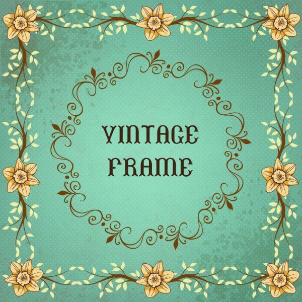 Vintage floral illustration with frame  vector