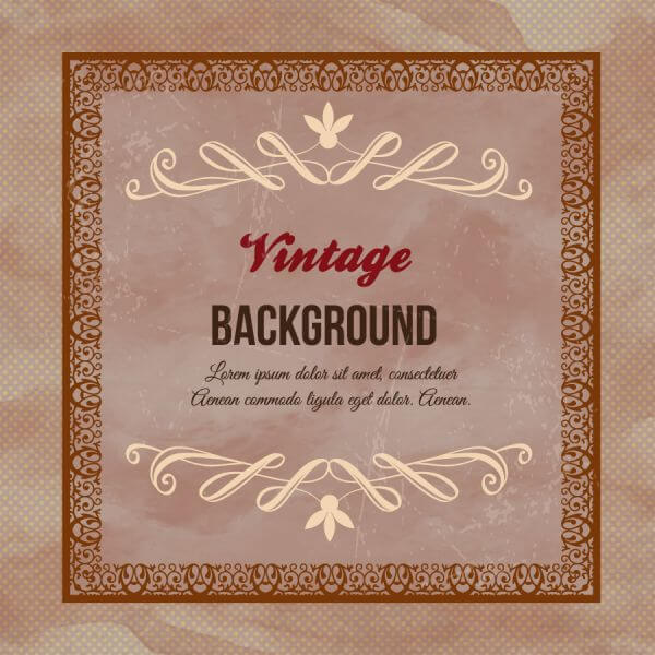 Vintage floral illustration with frame,ornaments and typography vector