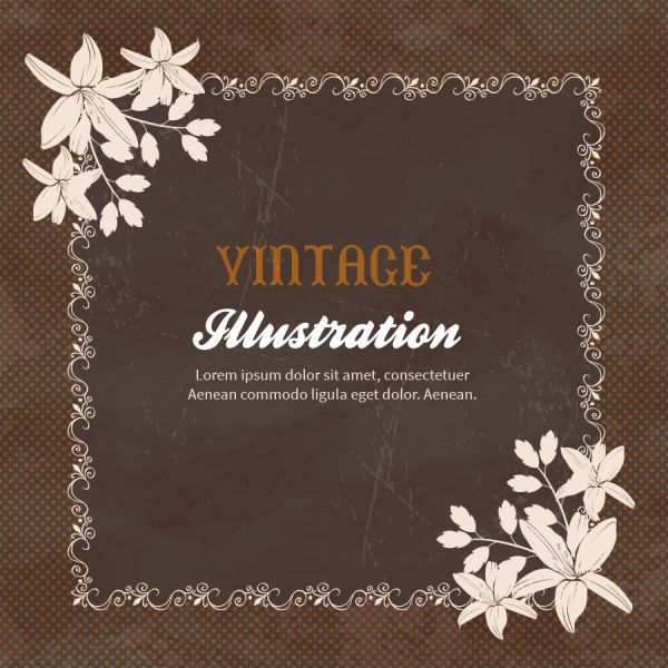 Vintage flowers with frame  vector