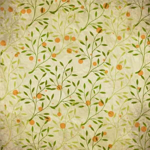 Vintage pattern with branches, leaves and dots vector