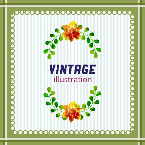 Vintage illustration with frame, leaves and flowers vector
