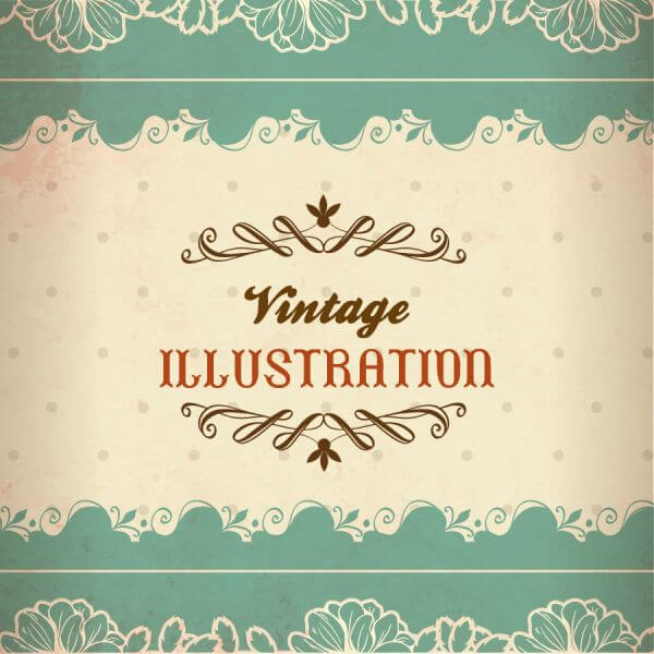 Vintage illustration with lace, flowers and typography vector