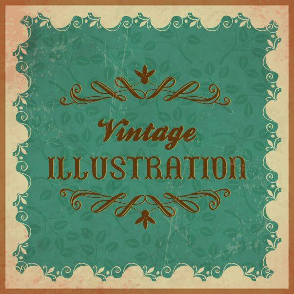 Vintage floral illustration with frame,ornament and typography vector