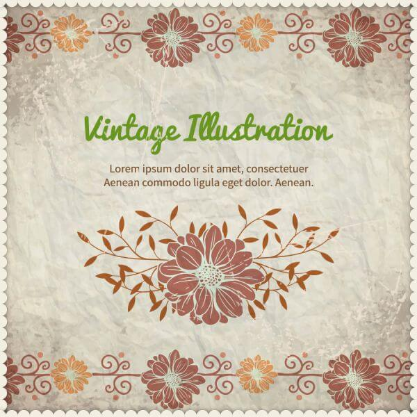 Vintage floral illustration with frame,typography and paper texture vector