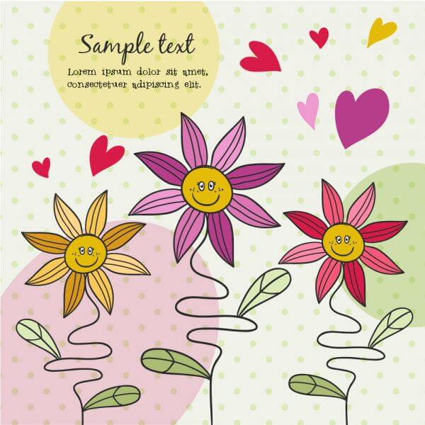 Doodle illustration with cute flowers vector