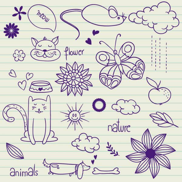 Set of vector nature elements vector