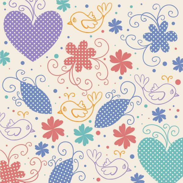 Vector illustration with hearts,birds and flowers vector