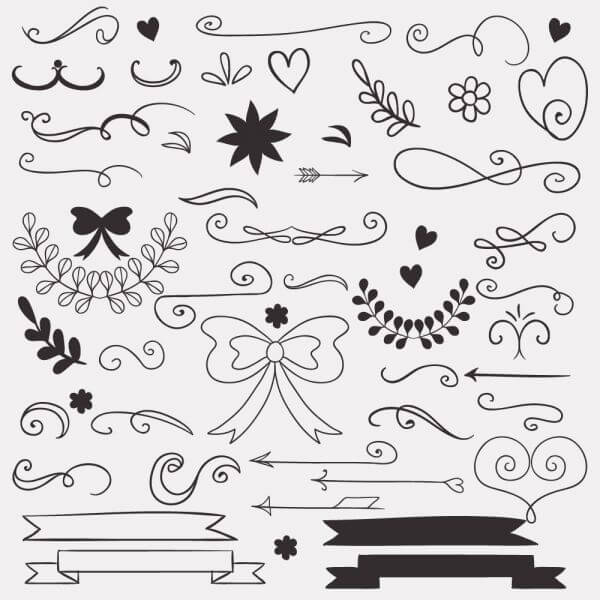 Set of doodle decorations vector