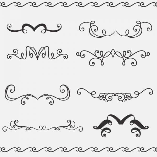 Vintage vector set of handdrawn decorations vector