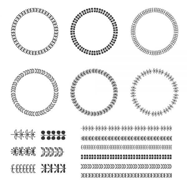 Vintage vector set of wreaths vector