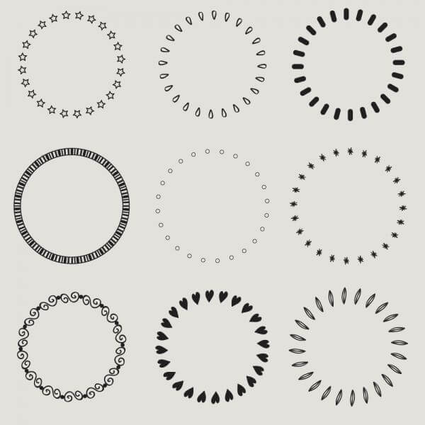 Vintage vector set of calligraphic circles vector