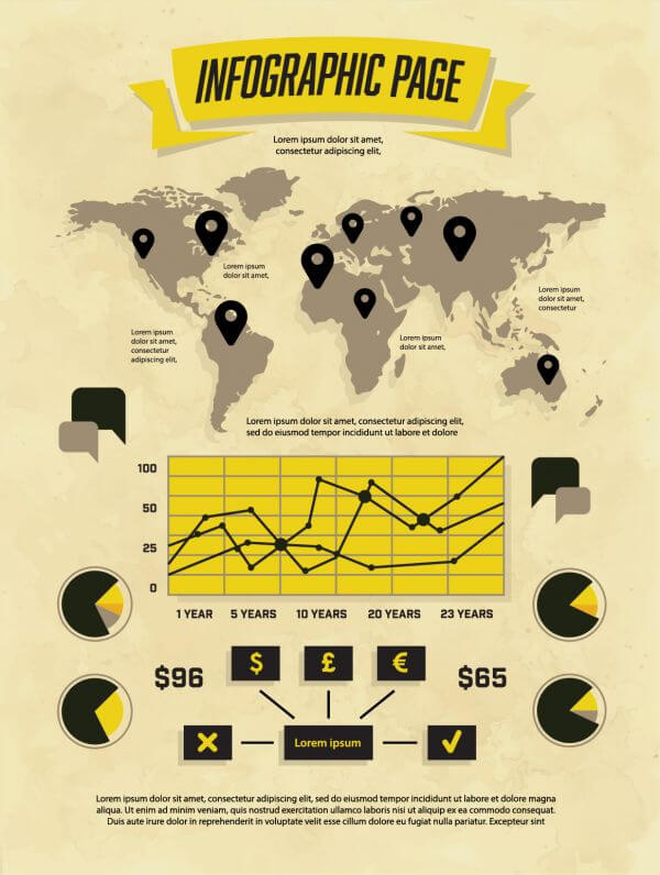 Set of Vintage Infographic Elements vector