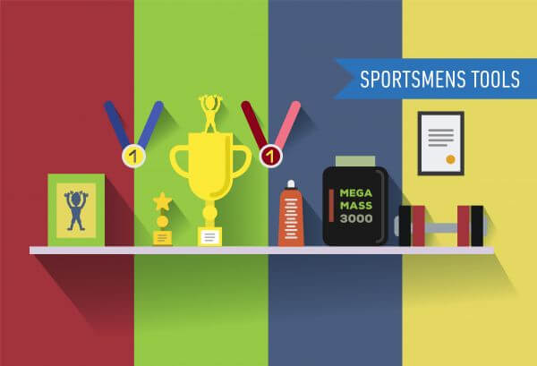 Sportsmens table with tools. Vector illustration