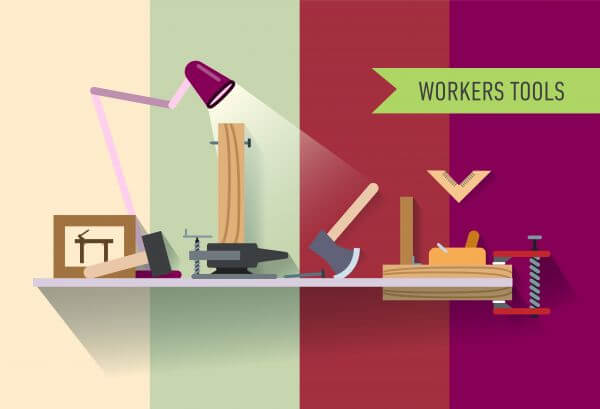 Tools objects on the table. Vector illustration for design vector