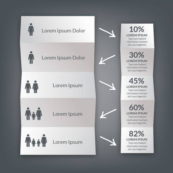 Infographic folded paper design vector
