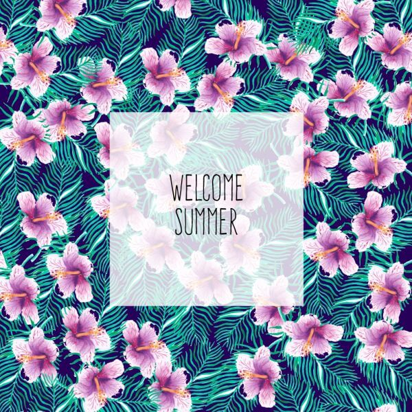 Tropical floral summer background vector