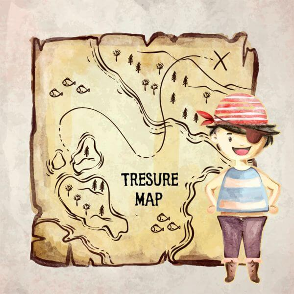 Treasure pirate map vector