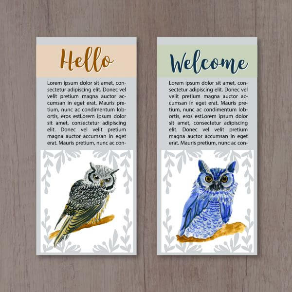 Watercolor owl cards vector