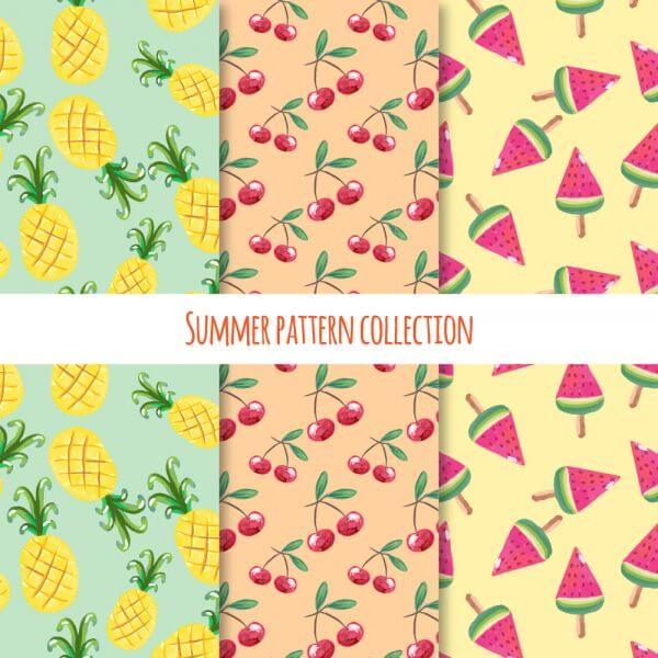Summer fruits and ice cream pattern collection vector