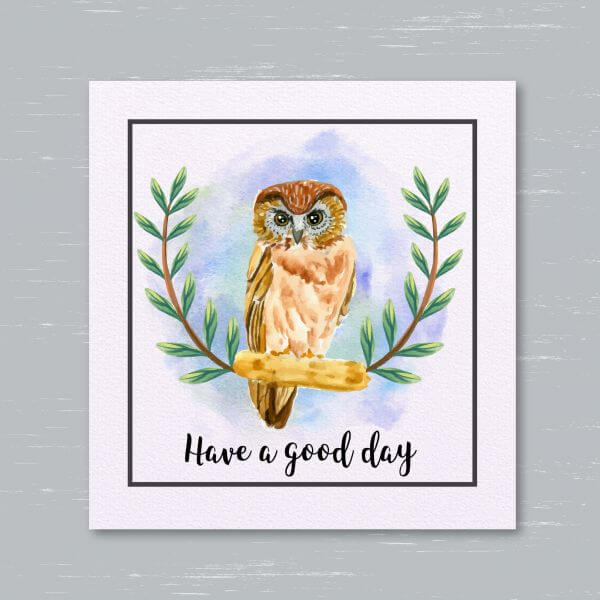 watercolor owl card vector