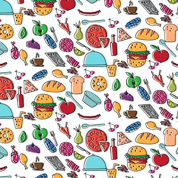 Doodle food pattern vector