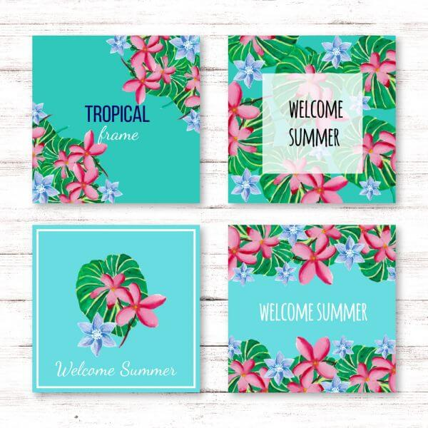 Tropical summer card collection vector