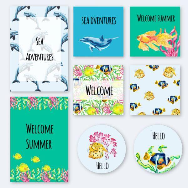 Nautical underwater summer cards vector