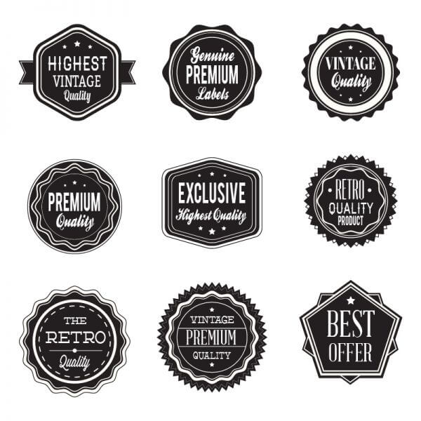 Retro labels. Vintage labels collection vector