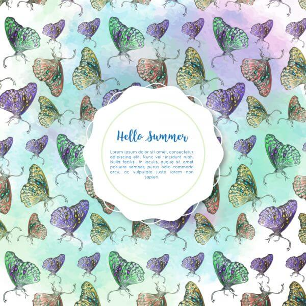 Watercolor butterflies with badge vector