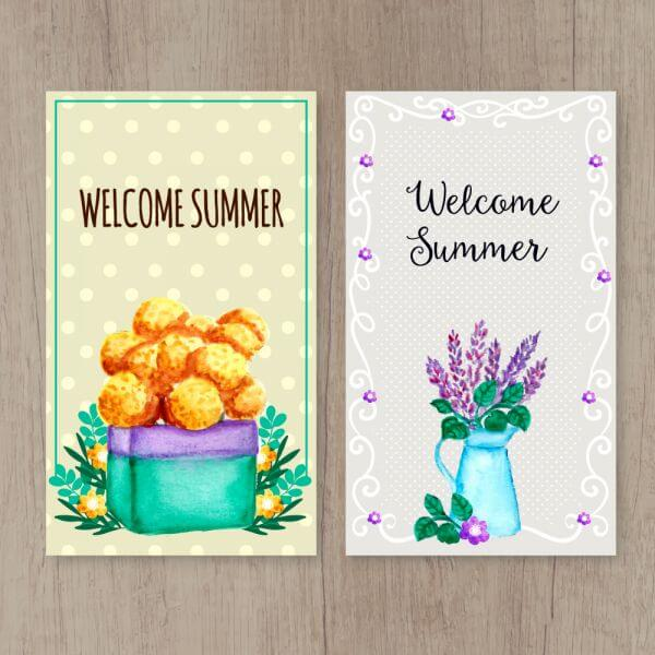 Summer cards on wooden background vector