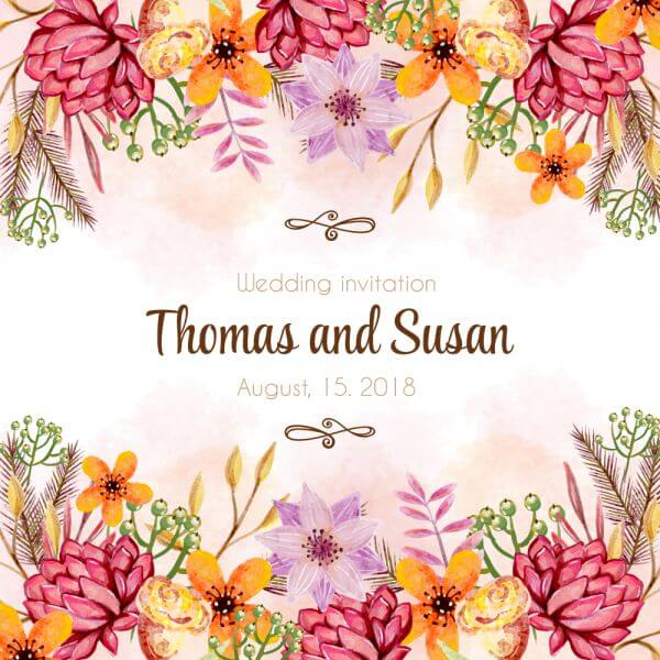 Watercolor wedding invitation vector