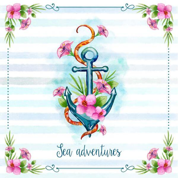 Nautical theme floral card vector