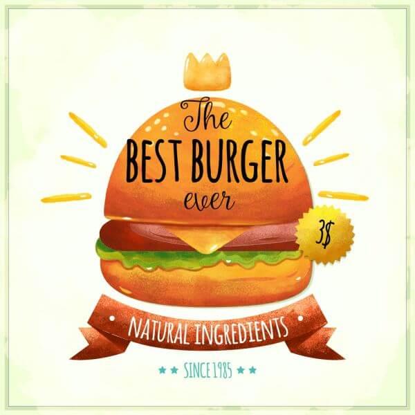 Watercolor burger card vector