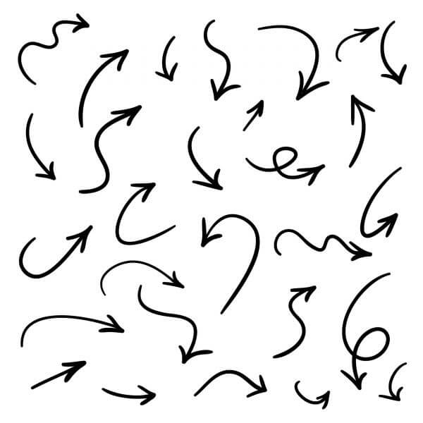 Isolated vector hand drawn arrows set on a white background vector