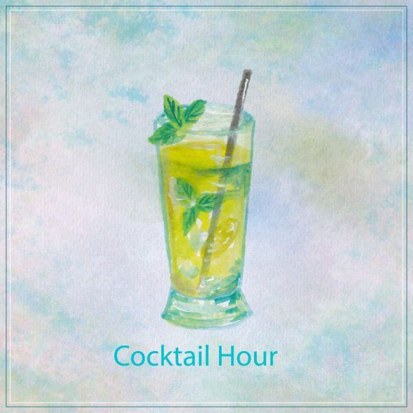Watercolor illustration of summer cocktail mojito vector