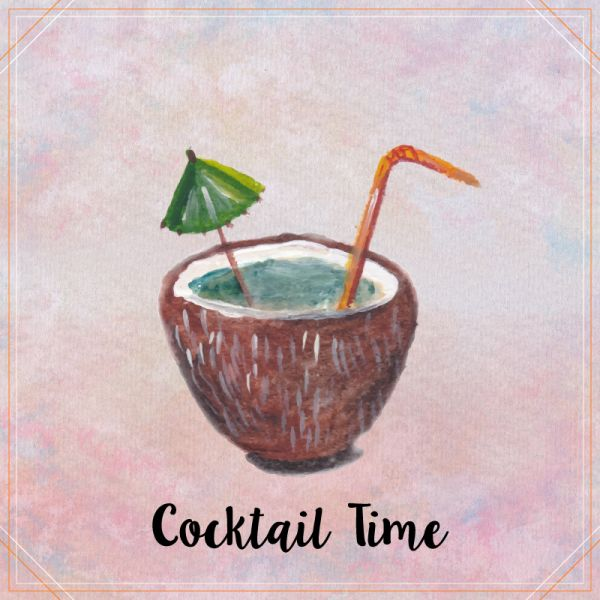 Watercolor coconut cocktail vector