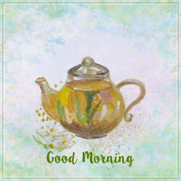 Watercolor teapot illustration. Watercolor hand drawn painted teapot