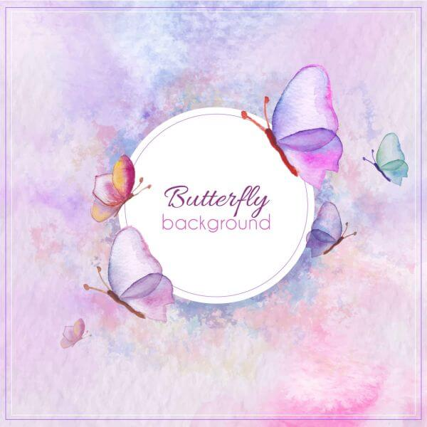 Watercolor butterfly card vector