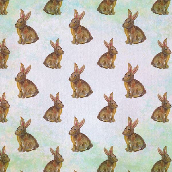Seamless pattern with watercolor rabbits vector