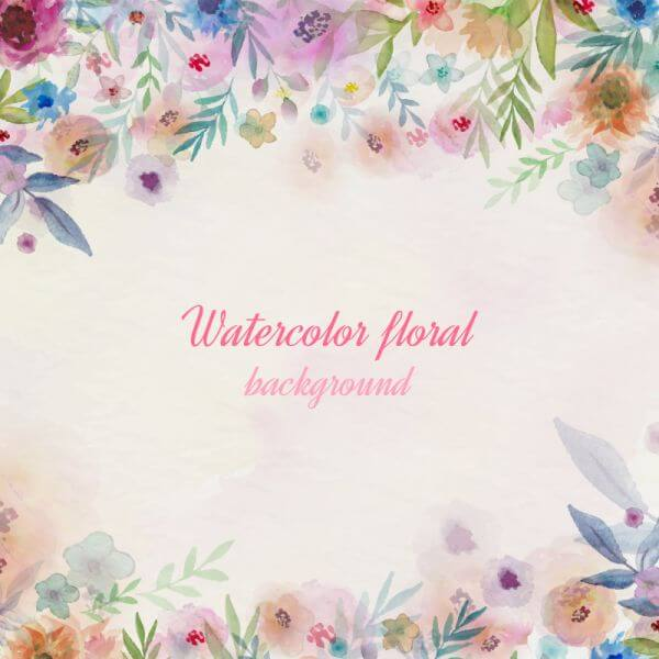 Watercolor flowers illustration vector
