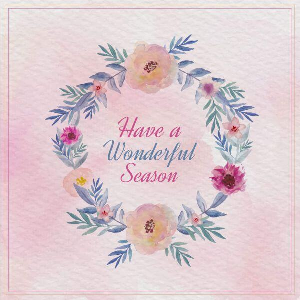 Watercolor floral greeting card. Watercolor flowers frame vector