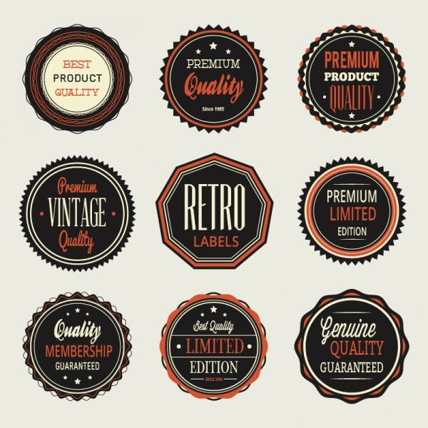 Vintage labels, badges set vector