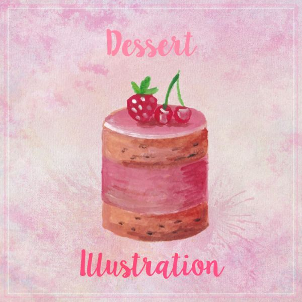 Watercolor hand painted sweet and tasty cake with raspberries vector